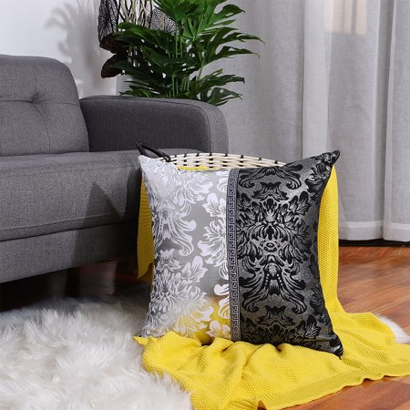 Black Silver Vintage Floral Printed Throw Pillow Case Cushion Cover Sofa Home Living Room Decor ,18