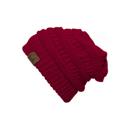43e2975df2fe94 C.C Women's Thick Slouchy Knit Beanie Cap Hat, Red | Walmart Canada