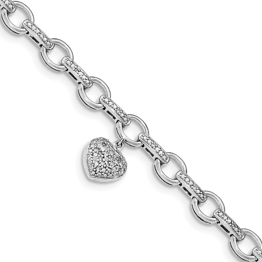 "925 Sterling Silver (07.25cttw) with heart Charm Diamond Bracelet 246"" (7in) by"