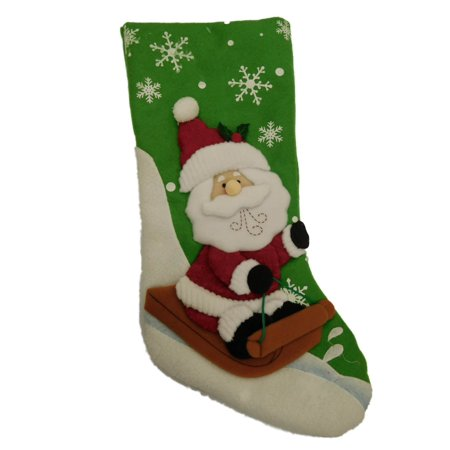 Sledding Santa Stocking - Green Felt Santa Claus & Sled Snowflake Christmas Holiday Stocking