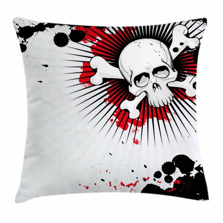 Halloween Throw Pillow Cushion Cover, Skull with Crossed Bones over Grunge Background Evil Scary Horror Graphic, Decorative Square Accent Pillow Case, 16 X 16 Inches, Pearl Red Black, by Ambesonne - Halloween Scary Music Radio