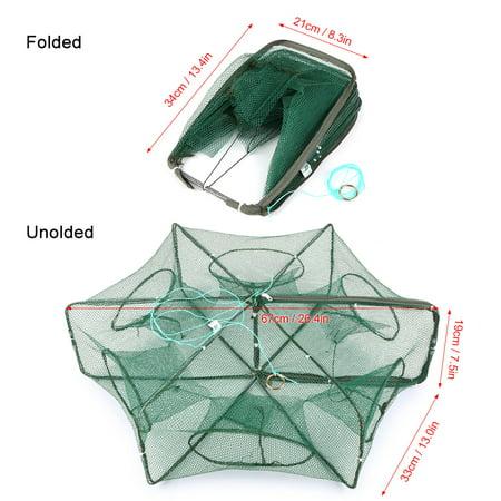 Fishing net shrimp cage 6//8 holes foldable crab Fish Crayfish crevett sh