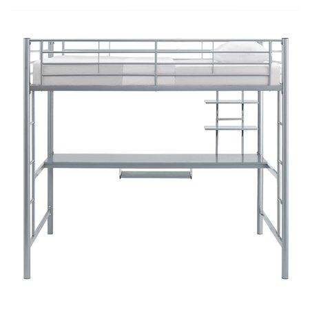 Walker Edison Premium Metal Full Size Loft Bed with Wood Workstation