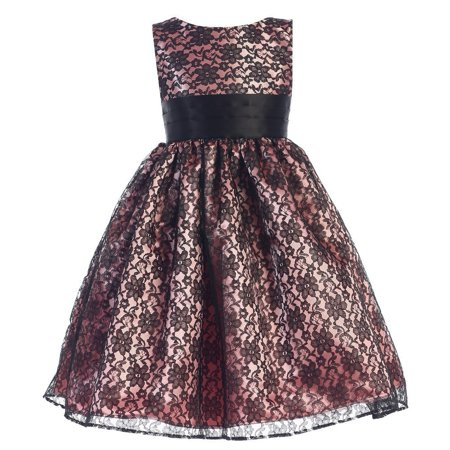 Girls Rose Black Raschel Lace Overlay Satin Special Occasion Dress](Satin Dress With Lace Overlay)