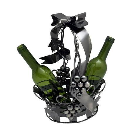 (D) Wine Bottle Holder, Basket Holding 2 Bottles, Bar Counter Decoration