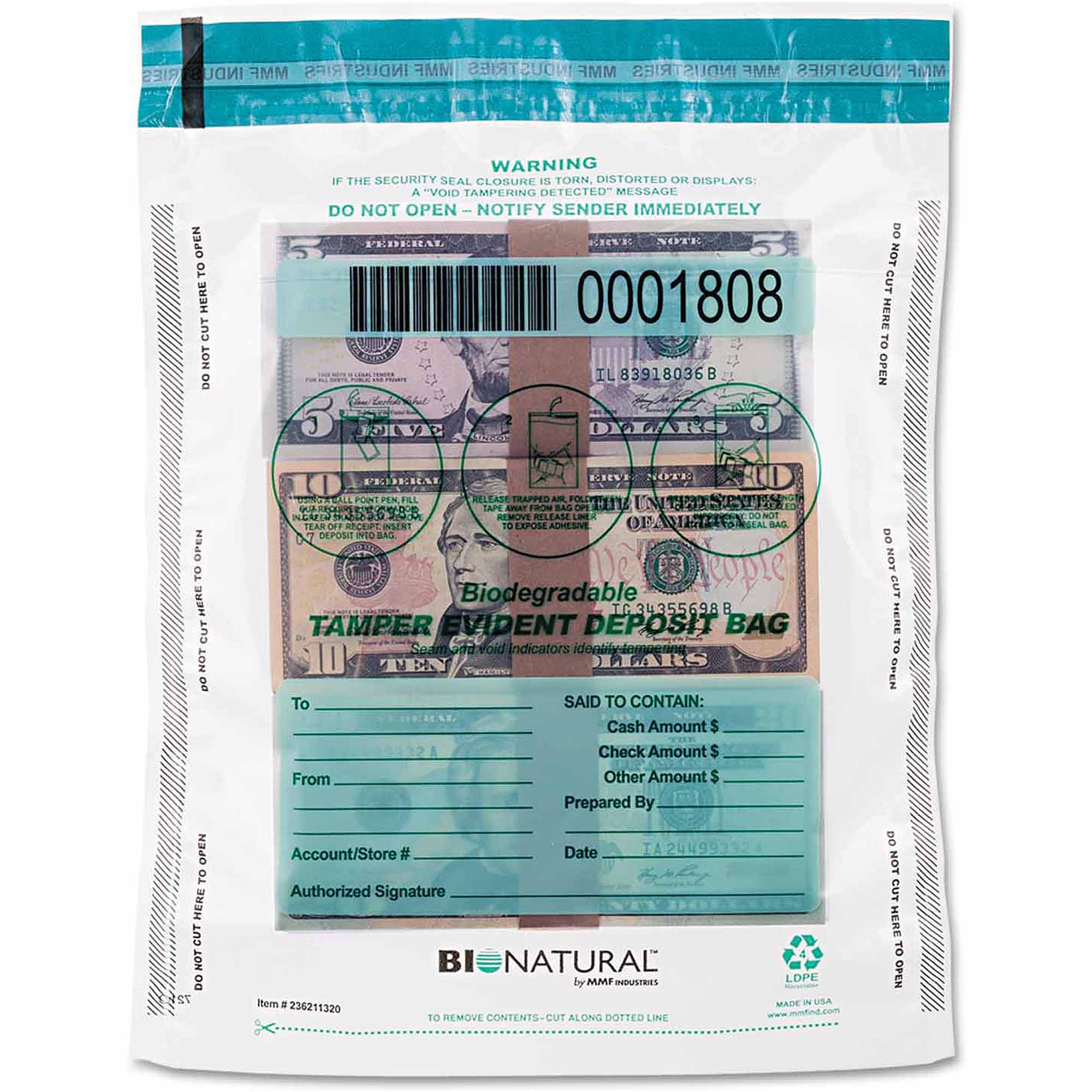 """MMF Industries Cash Bags, 9"""" x 12"""", Clear, 100-Pack"""