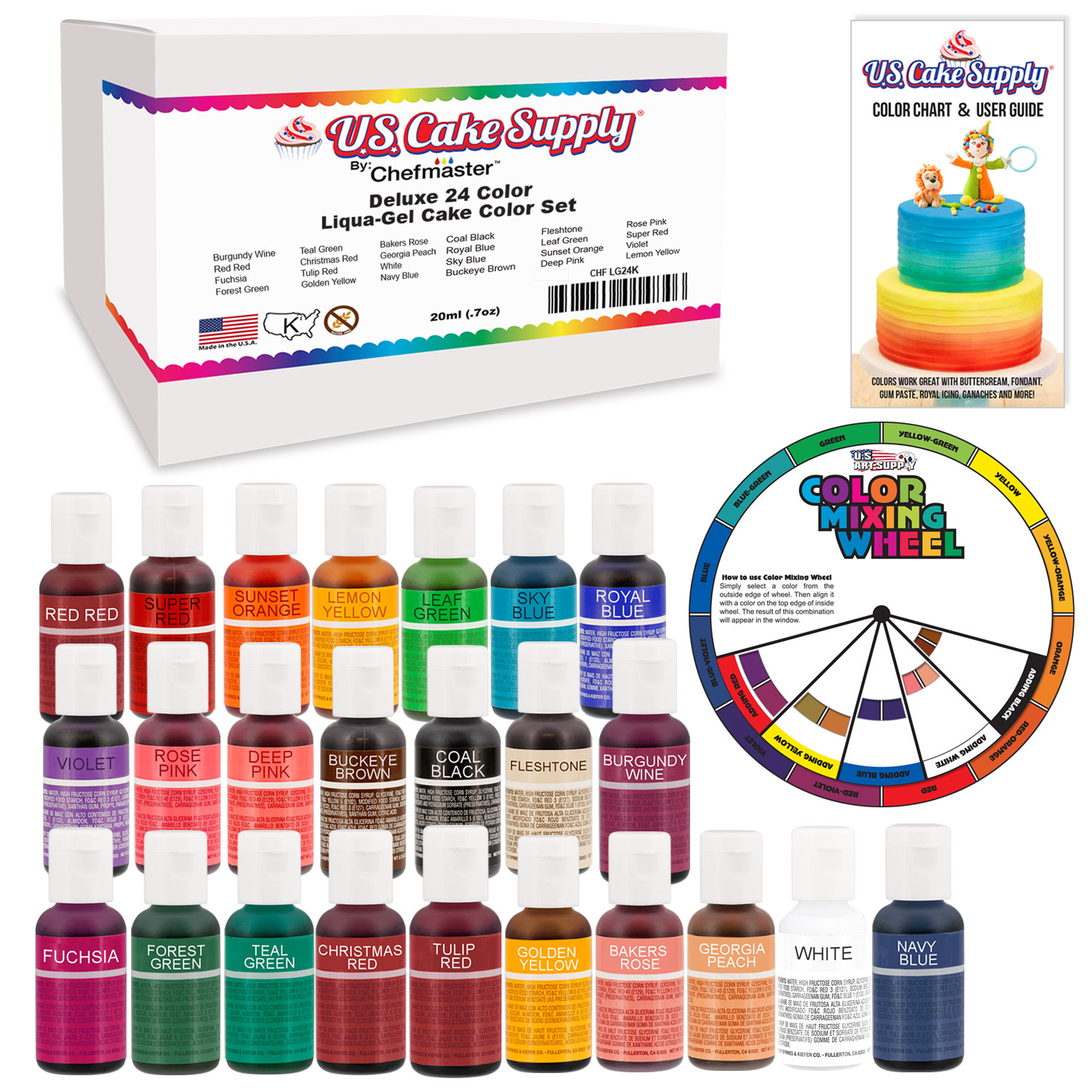 24 Color Primary & Secondary US Cake Supply by Chefmaster...