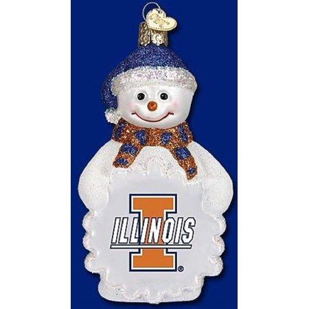 (Old World Christmas Illinois Fighting Illini Snowman Glass Ornament 62805 NCAA)