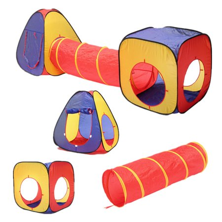 3 In 1 Foldable Play Tent Tunnel Ball Pit Toddlers Pets Playhouse Childrens Kids Baby Outdoor Indoor - image 1 of 7