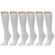 All Top Bargains Knee High Socks School Girl Uniform Soccer Sport Women Girls White Size 9-11 6-8