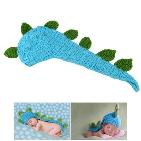 (NUOLUX Cute Cartoon Dinosaur Style Baby Infant Newborn Handmade Crochet Beanie Hat Clothes Baby Photograph Props)