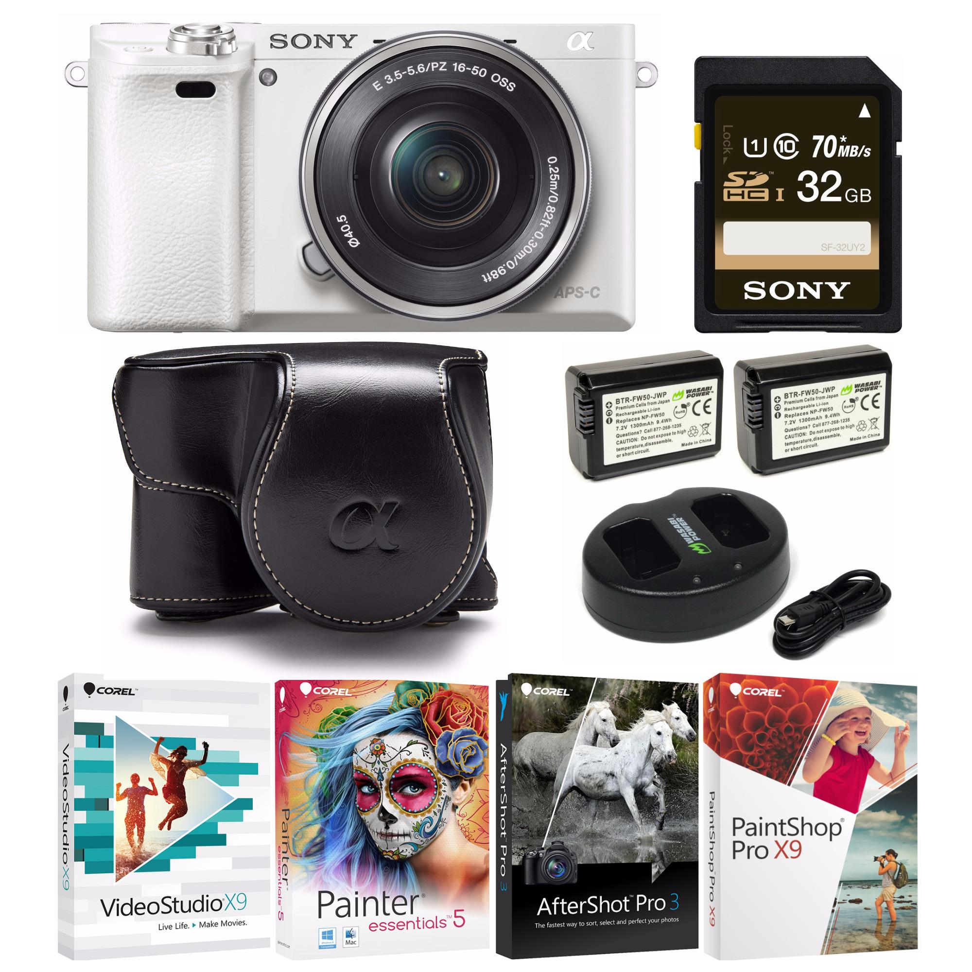 Sony Alpha a6000 Mirrorless Camera (White) with KOAH PU Leather Case Kit