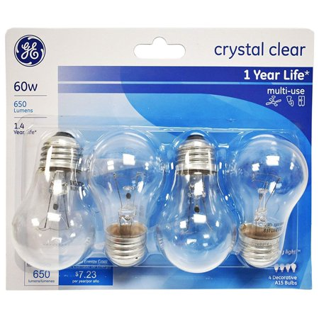 - GE Crystal Clear 60 Watt, 650 Lumen, A15 Ceiling Fan Light Bulbs w/Medium Base (4 pack)