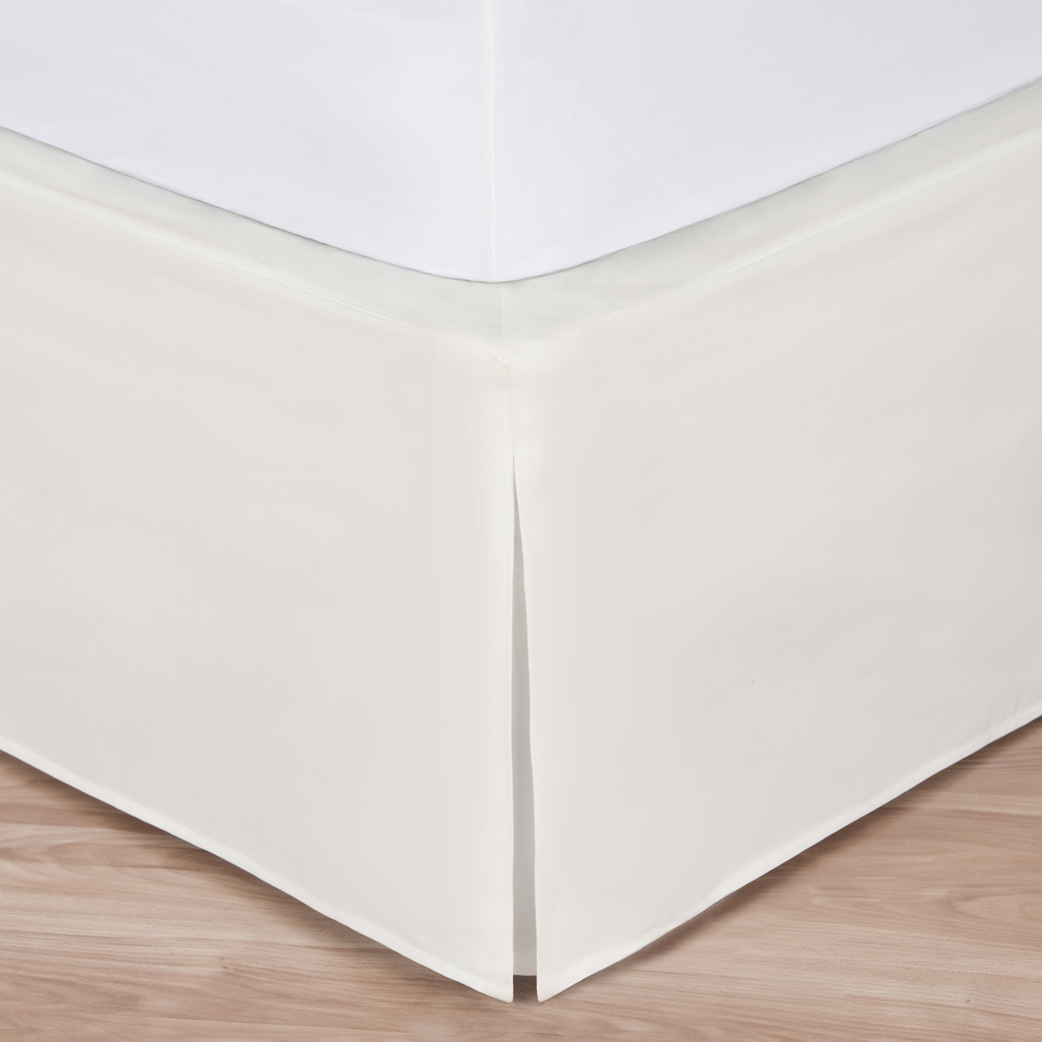 "King Size Ivory Luxury Hotel Bedskirt: Tailored Pleat, 14"" Drop by"