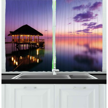Exquisite Bedroom - Tropical Curtains 2 Panels Set, Arbor on Sea at Dramatic Night Paradise Maldives Sky Exquisite Coast View Art Print, Window Drapes for Living Room Bedroom, 55W X 39L Inches, Purple, by Ambesonne