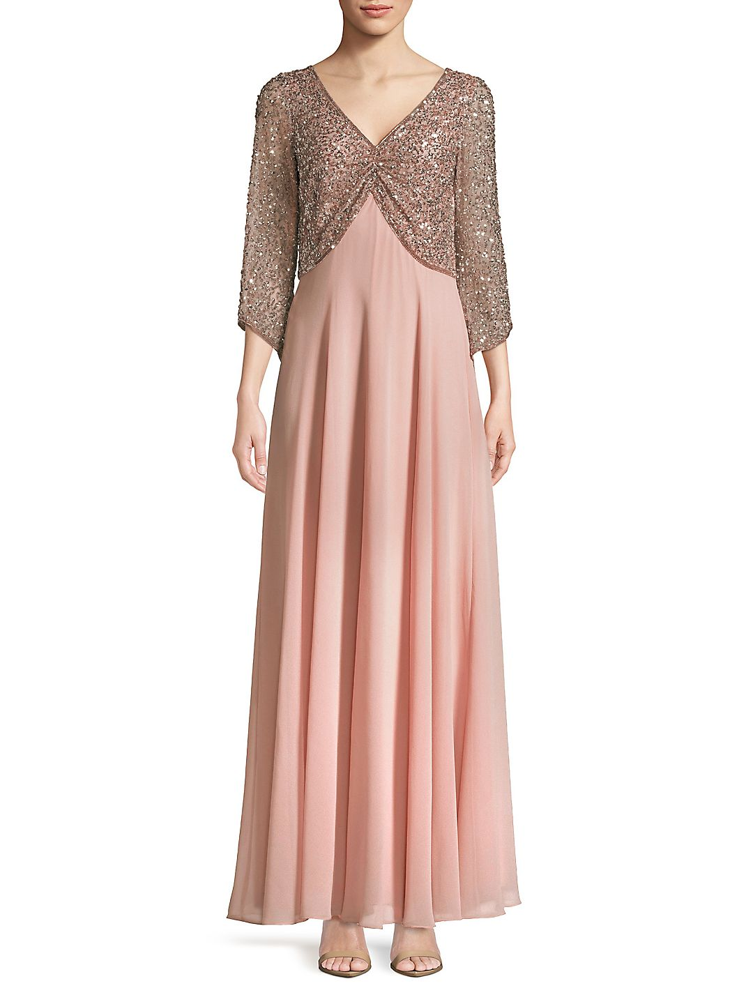 Plus Bea Blush Beaded Dress