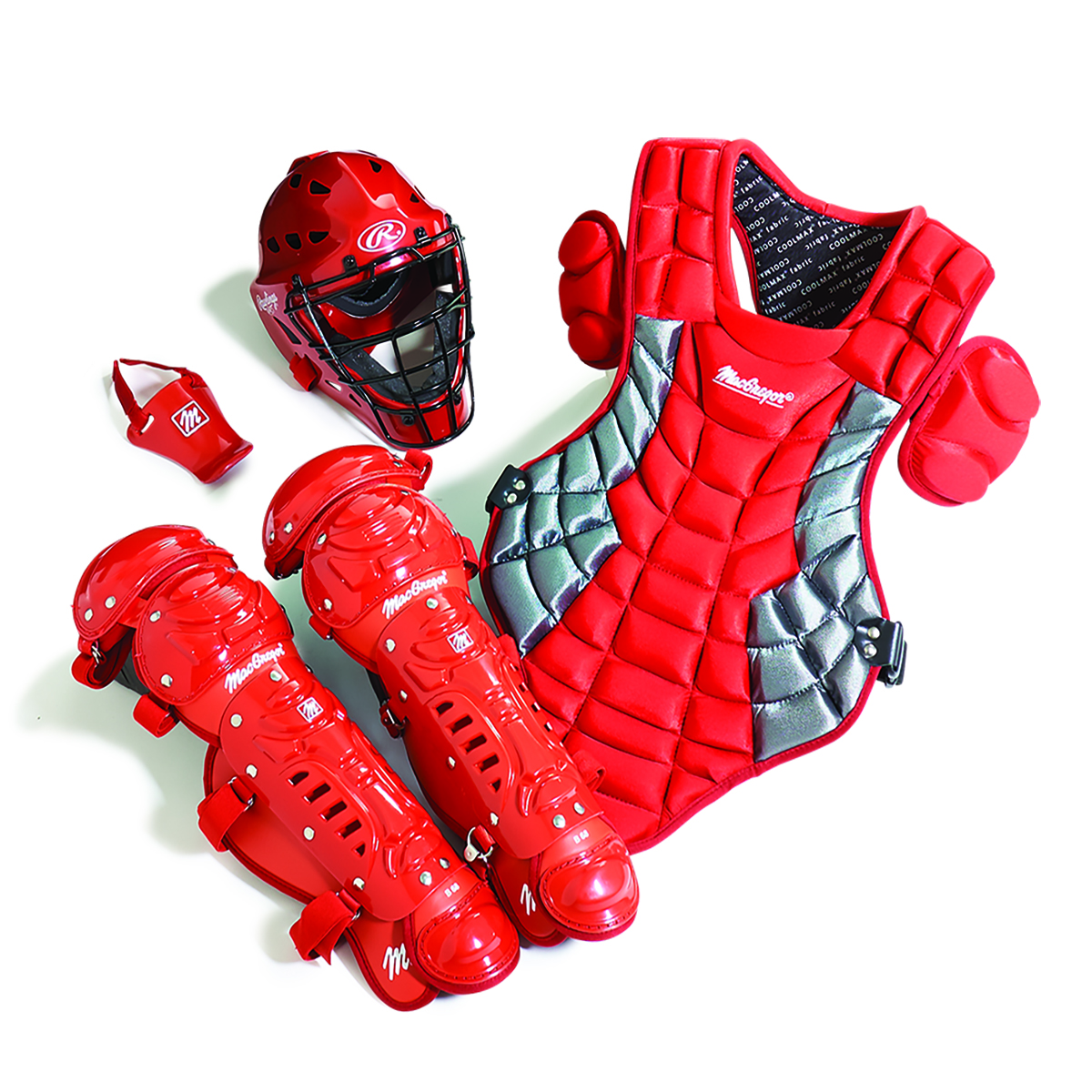 Junior Catcher's Gear Pack in Scarlet Red/Silver (Ages 5-8)