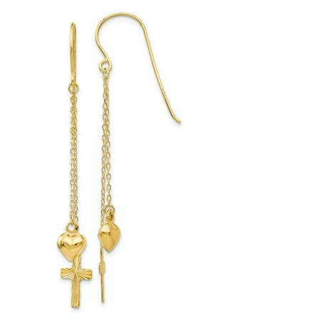 14k Yellow Gold Ropa Chain Puffed Heart and Sparkle-Cut Cross Dangle Earrings