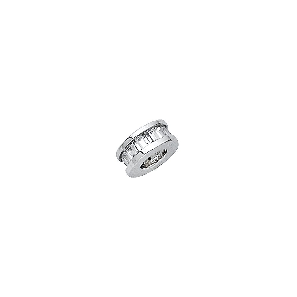 6mm x 6mm Million Charms 14k White Gold with White CZ Accented Small//Mini Tiny Charm Pendant