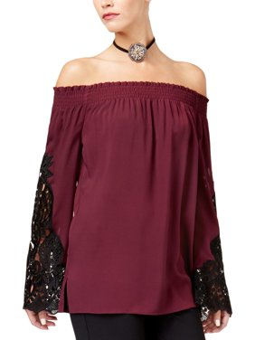 7d6146db75546 Product Image Kobi Halperin Womens Amie Off-The-Shoulder Lace Inset Blouse  Purple L