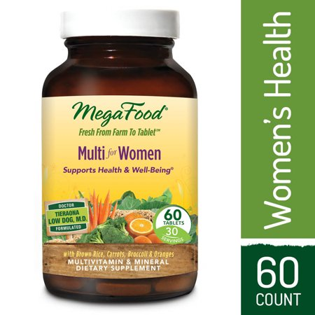 MegaFood - Multi for Women, Multivitamin Support for Energy Production, Hormone Balance, Bone Health, and Brain Function with Methylated Folate and Iron, Vegetarian, Gluten-Free, Non-GMO, 60