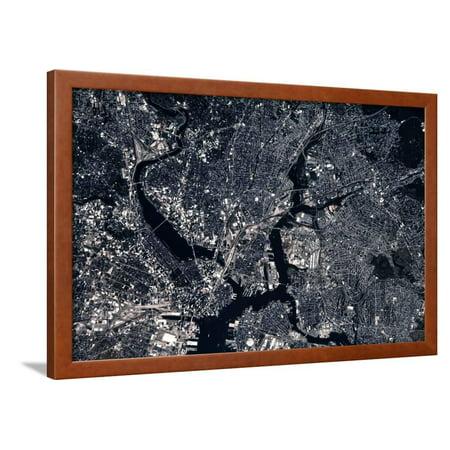Satellite view of Boston, Massachusetts, USA Framed Print Wall