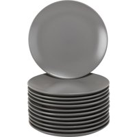 "10 Strawberry Street Matte Grey Coupe 7.75"" Salad Plate - Set of 12"