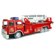 Safety Rescue Fire Truck Battery Operated Bump and Go Children's Kid's Toy Fire Truck w/ Flashing Lights, Sounds