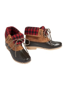 Kacey Buffalo Plaid Folded Duck Boot
