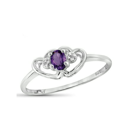 Brazilian Amethyst Gemstone (0.15 Carat T.G.W. Amethyst Gemstone and White Diamond Accent Ring )