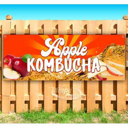 Image of Apple Kombucha 13 oz heavy duty vinyl banner sign with metal grommets, new, store, advertising, flag, (many sizes available)