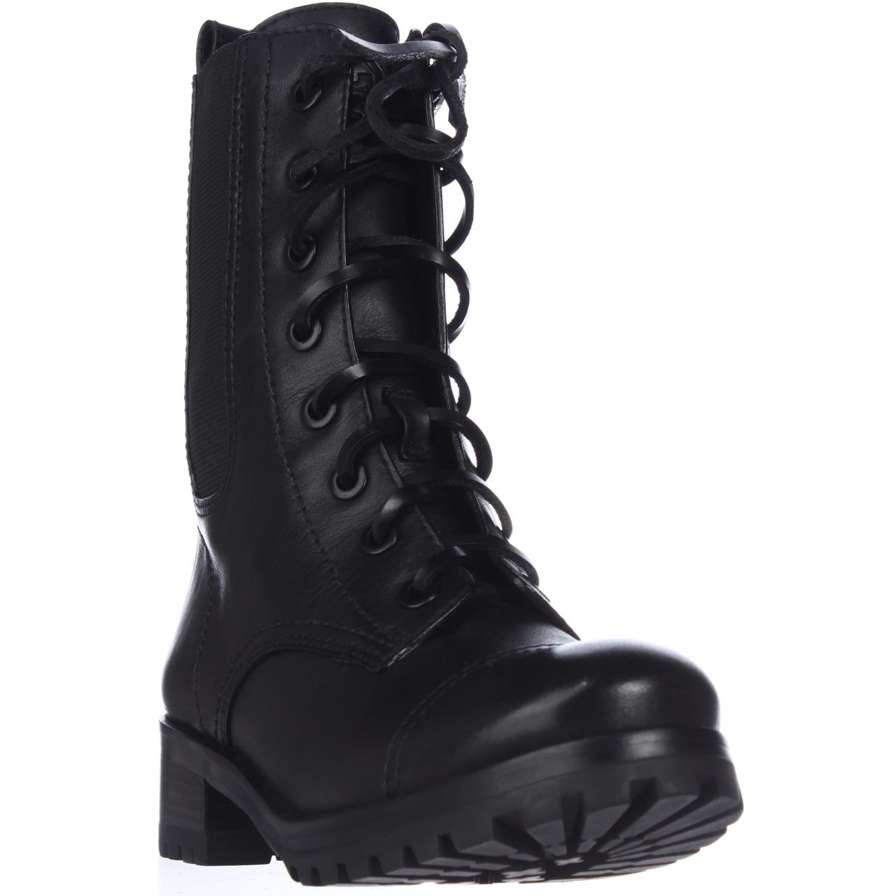 Womens Tory Burch Broome Lace-Up Combat Boots - Black/Black