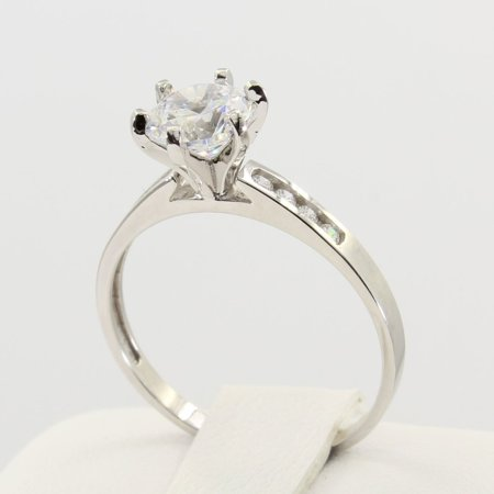 - 1.25 Ct 14K Real White Gold Round Cut Classic 6 Prong Cathedral Setting with Channel Set Side Stones Engagement Wedding Bridal Propose Promise Ring