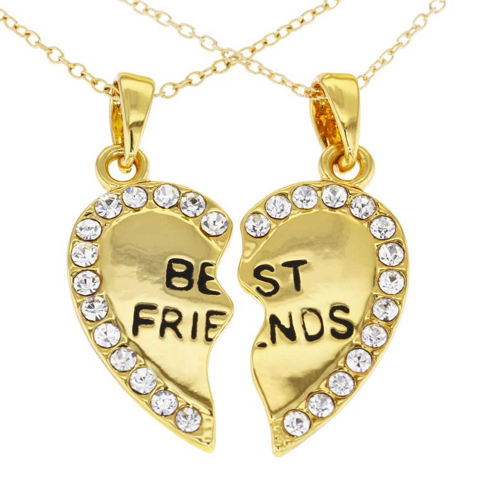 14k gold plated best friends forever clear crystals