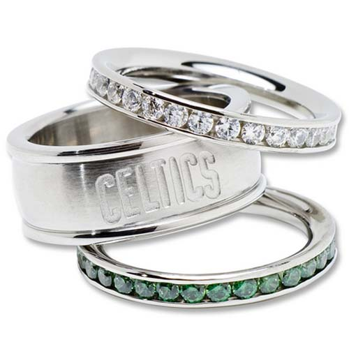 Boston Celtics Logo Crystal Stacked Ring Set (Size 8)