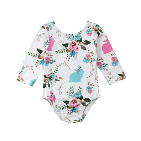 Baby Girls Romper Floral Long Sleeve Backless Rabbit Pattern Jumpsuit Bodysuit with Hair Ball Tail