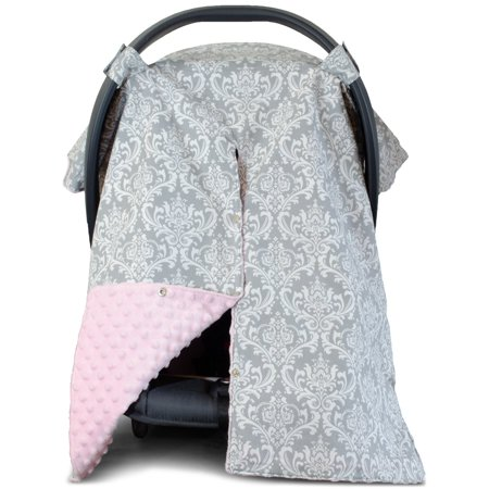 Kids N' Such 2 in 1 Car Seat Canopy Cover with Peekaboo Opening™ - Large Carseat Cover for Infant Carseats - Best for Baby Girls - Use as a Nursing Cover- Damask with Soft Pink Dot Minky