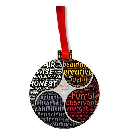 Good Personality Character Traits Zen Meditation Round Shaped Flat Hardboard Christmas Ornament Tree Decoration - Unique Modern Novelty Tree Décor (Good Christmas Decorations To Make At Home)