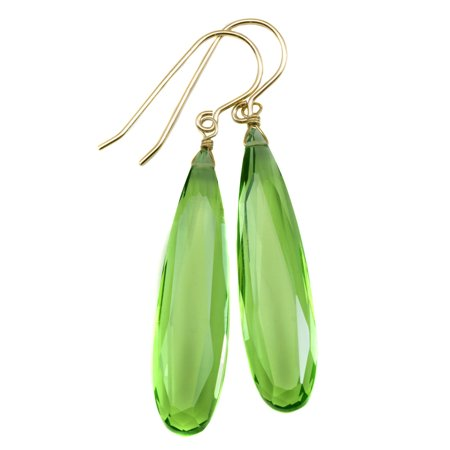 Faceted Peridot Drops - Light Green Simulated Peridot Earrings Long Faceted Teardrops 2 Inch 14k Yellow Gold Filled Spyglass Designs
