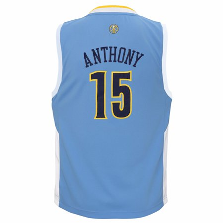 Authentic Nba Basketball Jersey - Carmelo Anthony Denver Nuggets NBA Adidas Boys Light Blue Official Road Replica Basketball Jersey