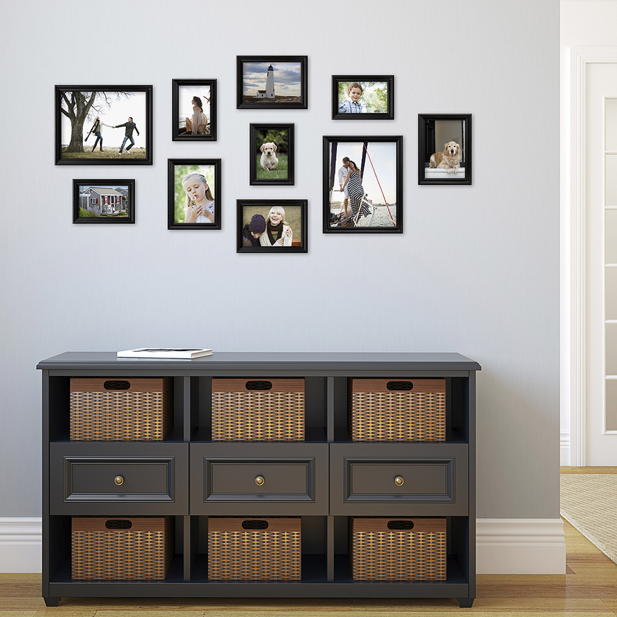 Traditional Black Wood Picture Frame Set Set Of 10 Walmartcom