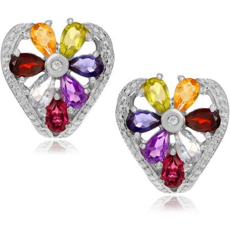 Brinley Co. Women's Multi-Gemstone Rhodium-Plated Sterling Silver Stud Earrings