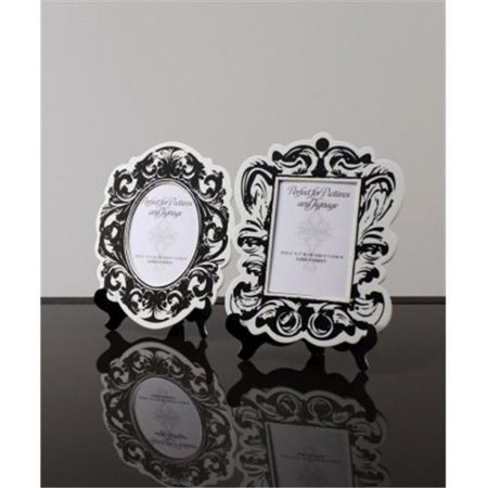 Weddingstar 9141-10 Baroque Paper Frames with Table Easels - Small Black And White (Paper Frames)