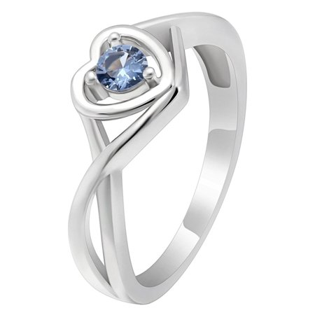 Christine Sterling Silver Blue CZ December Birthstone or Engagement Bridal Wedding Ring Ginger Lyne