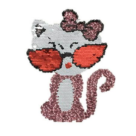 Reversible Clothes Paste Cat Image Sequin Applique Children Cartoon Animal Costume Patches for $<!---->