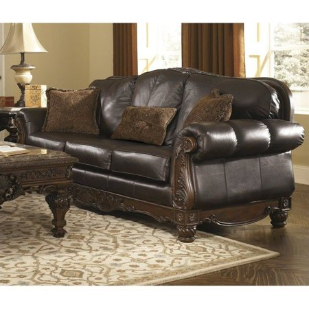 Ashley North Shore Leather Sofa In Dark Brown Walmart Com