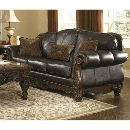 Ashley North Shore Leather Sofa in Dark Brown - Walmart.com