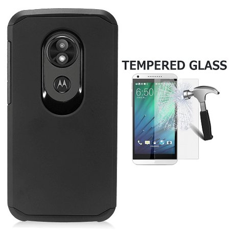 For Motorola  moto e play (5th Gen) Case, Motorola Moto E5 Play Case, Motorola E5 Cruise Case, Hard Cover Case + Tempered Glass Screen Protector (Black)