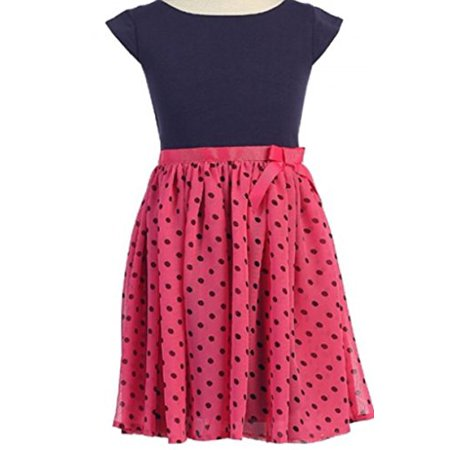 Little Girls Cap Sleeve Polka Dot Chiffon Ribbon Easter Summer Flower Girl Dress Fuchsia 2 (C10JA1CJ)