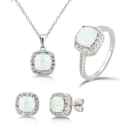 Diamond accent, Created Opel & White Sapphire Sterling Silver 3 pcs Jewelry Set
